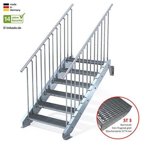 Außentreppe 6 Stufen 90 cm Laufbreite - beidseitiges Geländer - Anstellhöhe variabel von 100 cm bis 120 cm - Gitterroststufe ST3 - feuerverzinkte Stahltreppe mit 900 mm Stufenlänge als montagefertiger Bausatz