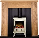 Adam New England Stove Suite in Oak with Aviemore Electric Stove in Cream Enamel, 48 Inch