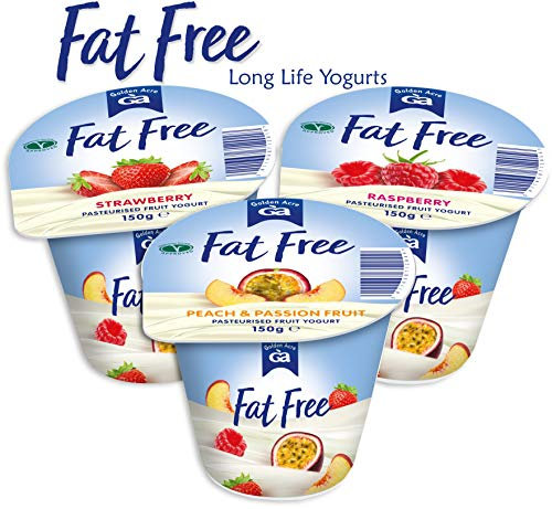 GOLDEN ACRE Fat Free Fruit Yogurts 150g (Pack of 20 Yogurts in 3 Mixed Flavours)