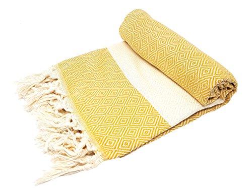 BellaCasa Elmas Backpacker Toalla de baño Toalla de Sauna Pest Veces Fouta Toalla de Playa Toallas de Mano de algodón 100 x 180 cm, 100% algodón, Safran