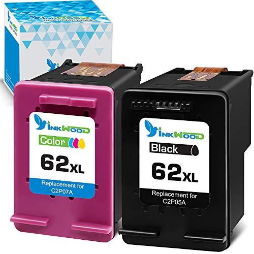 Inkwood 62 XL Schwarz & Farbe Remanufactured Druckerpatronen für HP 62XL Tintenpatronen für Envy 7640 5640 7645 8000 8005 5642 5643 5644 5646 5660 5665 Officejet 5740 5742 5744 5745 5746 8040 8045
