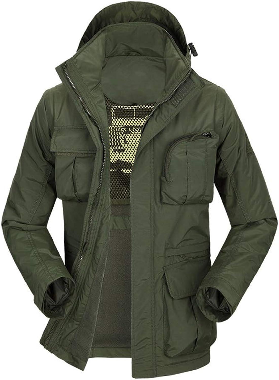 QWQW Multi Pockets Angeln Weste,Outdoor wasserdichte Jacke Wasserwiderstandskoeffizient (1000mm) Abnehmbare rmel Und Mützen(7 Taschen)
