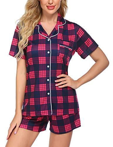 Ekouaer Womens Short Sleeves Pajamas Set Fashion Plaid Sleepwear Soft Cotton Christmas Pj Set(YDL3,Medium)