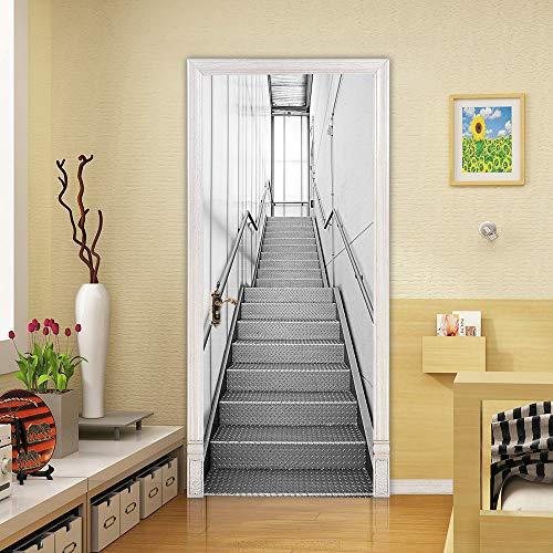 ZZDGFC Kreative 3D-Eisentreppe Türaufkleber Selbstklebende PVC-Tapete Wohnzimmer Küche Wohnkultur Wandaufkleber 88 * 200CM