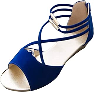 Inlefen Stylish simple zipper low heel sandals open toe beach wedge shoes