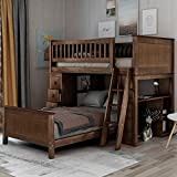 Twin-Over-Twin Bunk Bed for Kids, Loft System & Twin Bed Set with Desks, Drawers and Ladder, Warm Walnut