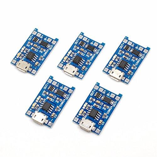 5Pcs Micro 5V 1A USB 18650 Módulo de cargador de placa de carga de batería de litio con funciones de doble protección