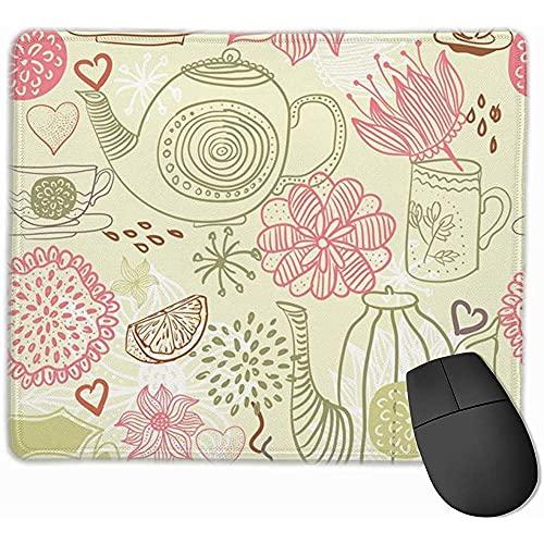 Mauspad Sketch Wasserkocher Blume Mauspads Rutschfeste Gummi Gaming Mauspads Matte für Computer Laptop