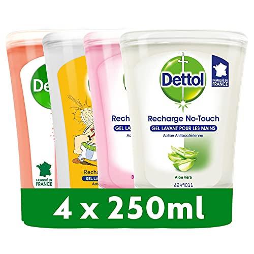DETTOL Recharge No-Touch Savon Liquide Mains - Action Nettoyante - 4 Recharges 250ml - Miel, Pamplemousse, Karité et Aloe Vera