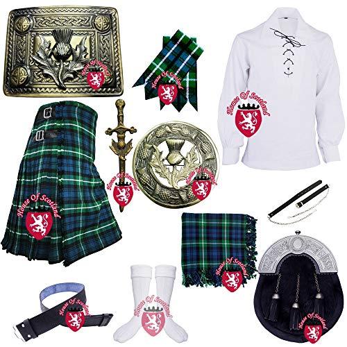 Traditionelles schottisches Kilt-Outfit-Set für Herren von Lamont, 8 Meter, 473 g, 100 {bf38adc041f84dd014556ee32520241362dbc3642a6d92253db22fa4bec1ad69} Acrylwolle, Distel-Emblem Gr. Large, Lamont Schottenkaro