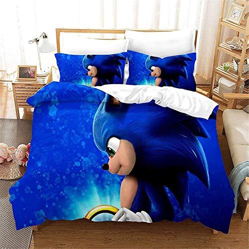 BATTE Sonic The Hedgehog Kinderbettbezug, 3D-Druckmuster, leuchtende Farben, weiche und Bequeme Bettwäsche (K,220 x 240 cm)