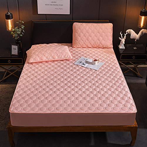 GaoTianyou Funda de colchón Acolchada y Gruesa sólida Funda Protectora de Cama tamaño King Queen Protector de colchón antibacterias Funda de colchón Permeable al Aire-Pink_150cm * 200cm + 30cm_Depth