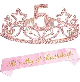 5th Birthday Gifts for Girls 5th Birthday Tiara and Sash Pink Happy 5th Birthday Party Supplies 5 & Fabulous Glitter Satin Sash and Crystal Tiara Birthday Crown for 5th Birthday Party Supplies