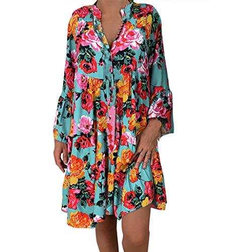 MRULIC Bluse Damen Lang Übergröße Frauen Langarm Tunika Schulterfrei Kleid Blumendruck Langarmshirt Unregelmäßiges Freizeitkleid Button Down Shirt MiniKleid Sommer Blusenkleid