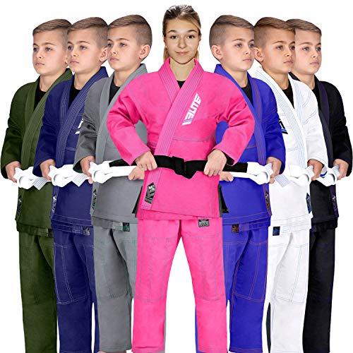 Elite Sports IBJJF Ultra Light BJJ Brazilian Jiu Jitsu Gi for Kids with Preshrunk Fabric and Free Belt, C3, Pink