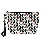 Pequeña bolsa de cosméticos para mujeres,bolsa de maquillaje, bolsa de viaje,bolsa de aseo impermeable,accesorios organizador de regalos de danza para niñas,Cute Cartoon Bulldog,Organizador de bolso