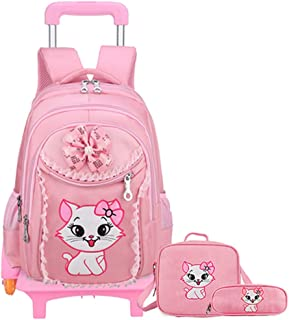 Travel Suitcase Luggage Kids Trolley Case Cute Cartoon Four Wheel Tow Box Kids Suitcase 16 Inch Vertical Striped Cat KUHU