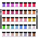 SHANY Cosmetics Mineral base Loose Pearl Eye Shadow Glitter/Eye Shadow 40pc Set with 2 Free Eye Shadow Brush and reusable case