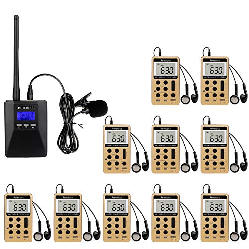 Case of 1 TR506 Portable Mini FM Transmitter and 10 V112 AM FM Radio Receivers,Retekess Church Translation System,Wireless Tour Guide System,Support Microphone AUX Input