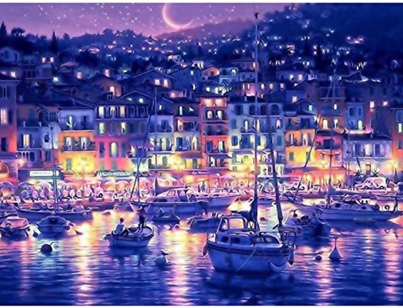My fell Blau Water City Night DIY Digitale Malerei Malerei Malerei von Zahlen Färbung Malen nach Zahlen Kits Zeichnung für Kid einzigartiges Geschenk-Mit Grenze B07HB3N8XF | Modernes Design  396d35