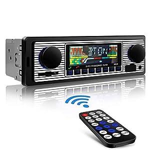 Aigoss Autoradio Bluetooth Radio Coche Manos Libres FM Estéreo de Control Remoto 4 x 60W MP3 Radio Digital con Soporte AUX USB SD Card y Carga de Teléfonos Móviles MP3 / WMA / WAV Función