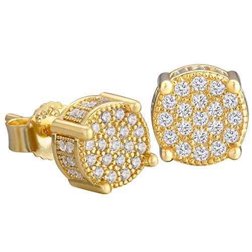 KRKC&CO Stud Earrings for Men, 14K Gold Iced Out Micro Pave 5A CZ Stones Earrings, Hypoallergenic 925 Sterling Silver Earrings, Hip Hop Street-wear Rapper Earring Dating Party (Round-Gold 8mm)