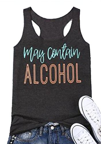 UNIQUEONE May Contain Alcohol Letters Print Sleeveless T-Shirt Women Casual Tank Size M (Dark Grey)