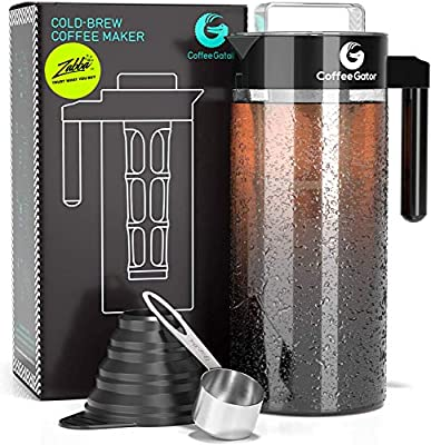 Coffee Gator Cold Brew Maker - 47 oz. Ice Coffee or Iced Tea Makers - BPA-Free Kit with Glass Pitcher, Filter, Loading Funnel & Measuring Scoop - Reusable Glass Carafe For Hot & Cold - Black