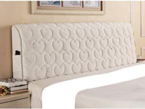 Thicken Bed Headboard Slipcover Protector Knitted Fabric with Quilted Stretch Dustproof Cover Plant Flowers Pattern for Be...