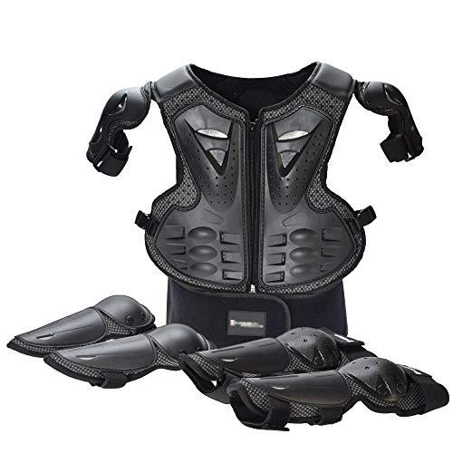XEPAJS Kinder Motorradjacke Set für Motocross/Enduro/Sport mit Protektoren, 2 Ellbogenschützer und 2 Knieschützer, Motorrad Schutz Protektoren Hemd Brustschutz Fallschutz Schutzjacke