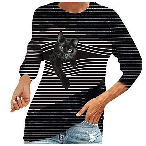 VEMOW Blusas y Camisas de Mujer Manga Larga, Lindo Gato Impreso Primavera Otoño Creativa 3D Ilusión Raya Camisa Camiseta Larga Sudadera Casual Cuello Redondo Tops Jersey Largo(A5 Gris Oscuro,M)