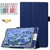 QYiD Hülle für LG G Pad F 8.0 / G Pad II 8.0, PU Leder Leichte Schutzhülle Cover Auto Schlaf/Wach Funktion für LG G Pad F 8.0 V495 / V496 / UK495 und G Pad 2 8.0 V498 8-Zoll Tablet, Blau