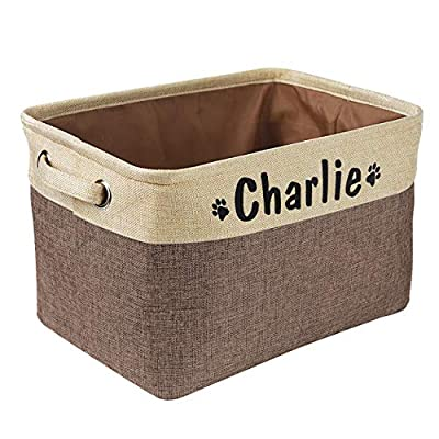 PET ARTIST Collapsible Dog Toy Storage Basket Bin with Personalized Pet's Name - Rectangular Storage Box Chest Organizer for Dog Toys,Dog Coats,Dog Clothing,Dog Apparel & Accessories,Coffee