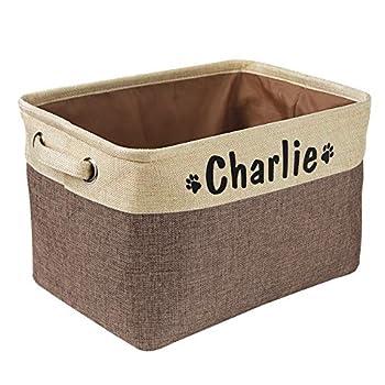 Panier de rangement pliable pour jouets pour chien avec nom personnalisé – Boîte de rangement rectangulaire pour jouets pour chien, manteaux, vêtements pour chien, vêtements et accessoires pour chien