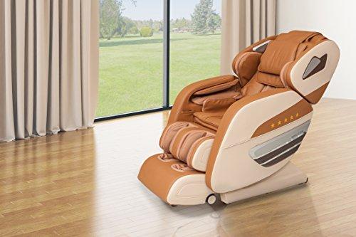 WELCON Dynamite Massagesessel Massagestuhl mit Shiatsu Massage, scannt 128 Punkte des Rückens, Nacken-, Schulter-, Rücken-, Gesäß-, Oberschenkel, Waden-, Fuß-, Arm- und Handmassage, braun beige