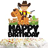 Cowboy Happy Birthday Cake Topper Decorations with Boys for Western Theme Kids Birthday Party Decor Supplies