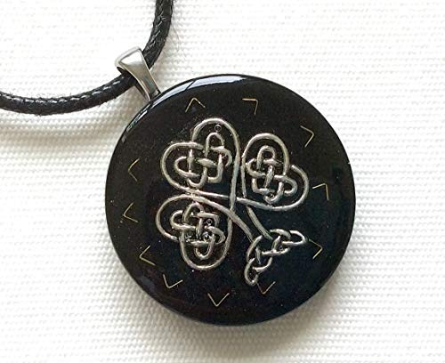 Orgone pendant necklace silver Celtic Endless Knot Clover St Patrick, Black Tourmaline & Shungite. EMF Protection. Made in USA
