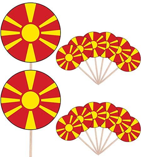Macedonië Vlag Partij Voedsel Cake Cupcakes Picks Sticks Vlaggen Opstaan Decoraties Toppers (Pack van 14)