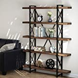 5 Tier Bookcase, LITTLE TREE Solid Wood 5-Shelf Industrial Style Bookcases and Book Shelves, Metal and Wood Free Vintage Bookshelf, Retro Brown