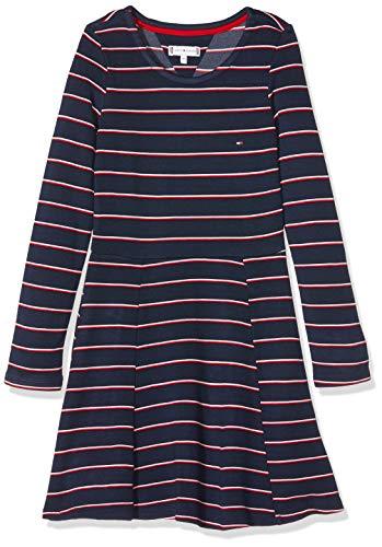 Tommy Hilfiger Mädchen Essential Stripe Skater Dress Kleid, Blau (Blue 0a4), 110 (Herstellergröße:5)