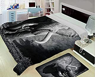 Creative Flannel Blanket for Home Warming,Elephant,Majestic Elephant Bull Approaching Photo Exotic Wild Habitat Mammal Art Print Safari Decor,Grey,One Side Printing,Excess Value