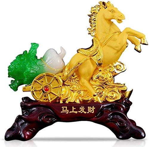 AISHANG Decoración Feng Shui BAI Choi Pok Choi repollo Caballo Estatua Encanto Regalos para la Riqueza de la Suerte decoración de la Sala de Estar de la Oficina