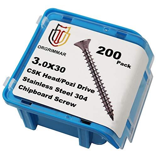 ORGRIMMAR Holzschrauben Spanplattenschraube 304 Edelstahl Flachkopf Pozi Holz Innenausbau Schraube 3x30mm Faserplattenschrauben Box, 200 ger Pack