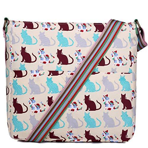 Miss Lulu Women Cross Body Bag Cat Canvas Messenger Bags Teenagers Satchel Schoolbag for Girls (Beige)