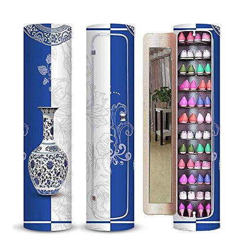 Busirsiz Roterande Sko Cabinet Lämplig for Corner Creative Roterande Lagring Shoe Cabinet Round Sko Hylla 360 ° roterande 10 lager på förvaringsskåpet (Färg Blue, Storlek: 40x40x155cm)