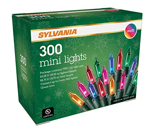 Sylvania Mini Luces de Navidad, Multicolor, Dos Juegos de 150 Luces, Cable Verde