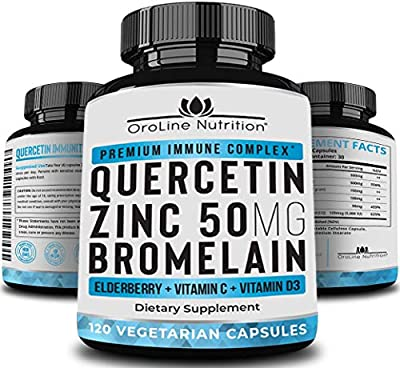 Quercetin 500mg with Bromelain, Zinc 50mg, Vitamin C, Vitamin D3 & Elderberry, A Potent Immunity Booster Zinc Quercetin Supplement for Immune Support with Anti Inflammatory and Antioxidant Properties