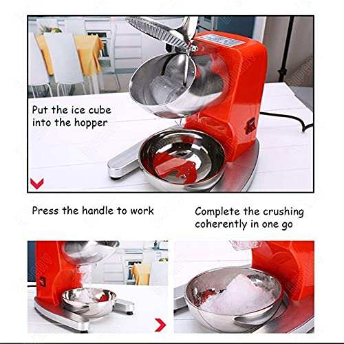 Máquina para triturar hielo ara uso doméstico Trituradora eléctrica Hoja doble Hoja de acero inoxidable Cono de nieve Profesional Fabricador de hielo afeitado para el hogar Complete Commercial Aplast