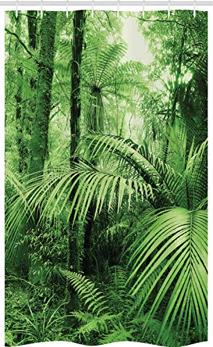 ABAKUHAUS Selva Cortina para baño, Palmeras Plantas exóticas, Tela con Estampa Digital Apta Lavadora Incluye Ganchos, 120 x 180 cm, Verde
