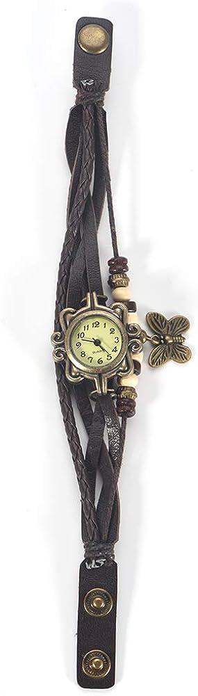 Reloj de pulsera, reloj de cuarzo, brazalete con correa de poliuretano trenzado, reloj analógico de cuarzo, reloj de pulsera con colgante de mariposa, reloj para mujer con correa ajustable(marrón)